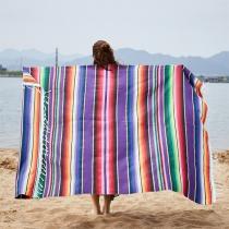 Bohemian Style Colorful Stripe Rainbow Tablecloth