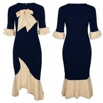 Sweet Style Contrast Color Ruffle Cuff Bow-knot Round Neck Irregular Hem Dress