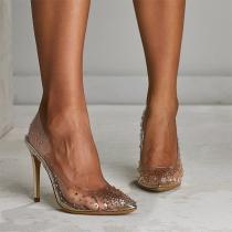 Sexy Transparente Spitze Schuhe mit Hohen Hacken und Strass