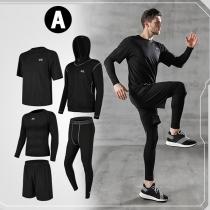Sportset in Volltonfarbe aus Schnell Trocknendem Atmungsaktivem Material 5-Teiliges Set