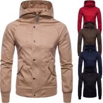 Moderne Jacke für Herren in Volltonfarbe mit Langen Ärmeln und Kapuze