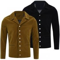 Moderne Jacke für Herren in Volltonfarbe mit Langen Ärmeln und Revers