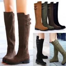 Modische Kniehohe Stiefel mit Flachen Absätzen und Runden Zehen
