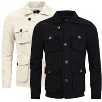 Moderne Jacke für Herren in Volltonfarbe mit Langen Ärmeln Polo-Kragen und Mehreren Taschen