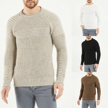 Moderner Pullover für Herren in Volltonfarbe mit Langen Ärmeln und Rundhalsausschnitt