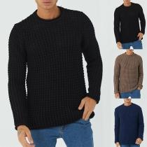 Einfacher Pullover für Herren mit Langen Ärmeln und Rundhalsausschnitt