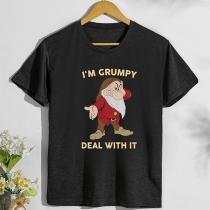 Nettes T-Shirt mit Weihnachtsmann- und Textaufdruck Kurzen Ärmeln und Rundhalsausschnitt