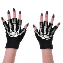 Schicke Gestrickte Handschuhe mit Halben Fingern und Skelett-Motiv