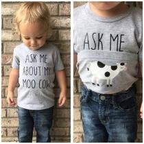 Lässiges T-Shirt für Kinder mit Kurzen Ärmeln Rundhalsausschnitt und Textaufdruck