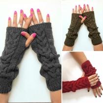 Moderne Gestrickte Warme Fingerlose Handschuhe in Volltonfarbe