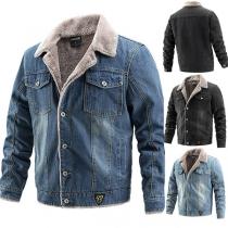 Moderne Jeansjacke für Herren mit Langen Ärmeln Polo-Kragen und Plüschfutter