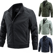 Fashion Solid Color Long Sleeve Stand Collar Man's Jacket
