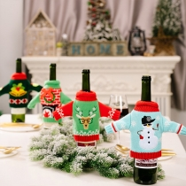 Creative Style Contrast Color Christmas Pattern Knit Bottle Cover 2 Piece/Set