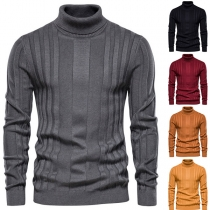 Fashion Solid Color Long Sleeve Turtleneck Man's Knit Sweater