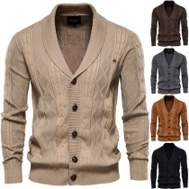 Fashion Solid Color Long Sleeve V-neck Single-breasted Man's Knit Cardigan