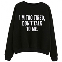 Casual Style Long Sleeve Round Neck Letters Printed Loose Sweatshirt