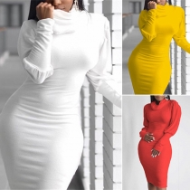 Fashion Solid Color Lantern Sleeve Cowl Neck Slim Fit Dress