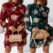 Sweet Style Long Sleeve Ruffle Stand Collar Long Sleeve Printed Chiffon Dress