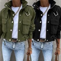 Fashion Solid Color Long Sleeve Big-pocket Stand Collar Jacket