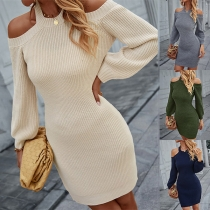 Sexy Off-shoulder Long Sleeve Round Neck Solid Color Slim Fit Knit Dress