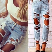 Sexy Hollow Out Distressed Ripped High Waist Jeans