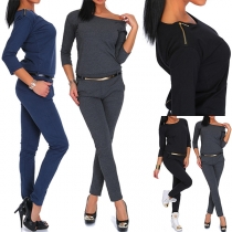 Fashion Slim Fit Jumpsuit mit Dreiviertelärmeln und Gürtelschlaufen(Ohne Gürtel.)