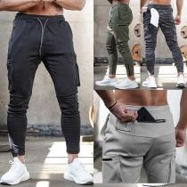 Lässige Sporthose für Herren mit Taille mit Tunnelzug und Seitentaschen