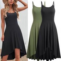 Sexy Kleid mit Freiem Rücken Volltonfarbe Trägern Unregelmäßigem Saum und Hoher Taille