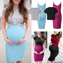Fashion Short Sleeve T-shirt + Sling Dress Maternity Two-piece Set