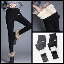Modische Leggings mit Plüschfutter Volltonfarbe und Hoher Taille