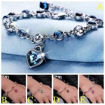Fashion Rhinestone Inlaid Heart Pendant Bracelet