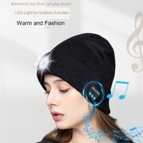 Drahtlose Bluetooth-Mütze mit 5 LED-Stirnlampe, Unisex-Musikkappe, Wiederaufladbare USB-Stirnlampen, Kopfhörer-Musik-Mütze für Sport im Freien