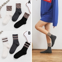 Fashion Leopard Spliced Breathable Socks 3 Pairs/set