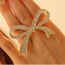 Cute Rhinestone Openwork Bowknot Shape Ring For Women