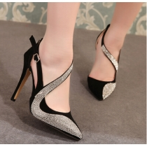 Stylish Women's Pumps With Rhinestones and Openwork Design