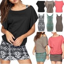 Stilvolle Damen Zweiteiler mit T-Shirt und Tank-Top-Kleid