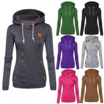 Fashion Casual Slim-Fit Damen Sweatjacke Sweatshirt mit Kapuze und Reißverschluss