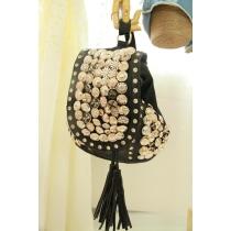 Schultertasche Rucksack mit Niete, mehreren Schaltfläche, Druckknöpfe und Makramee