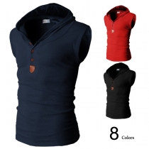 Fashion Solid Color Sleeveless Men's Hoodies