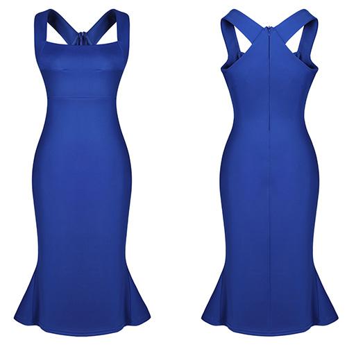 Elegant figurbetont ärmellos Cocktailkleid Blau Minikleid ...